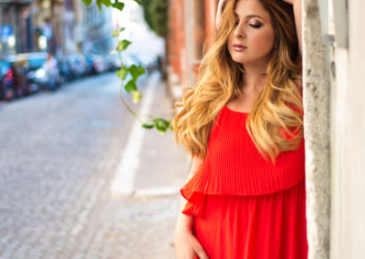 portrait wedding photo photographer Rome Italy red dress