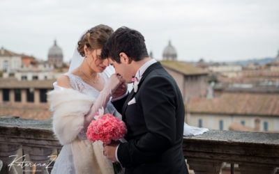 Daria & Filippo wedding photoshoot. Campidoglio Sala Rossa  Wedding Hall in Rome