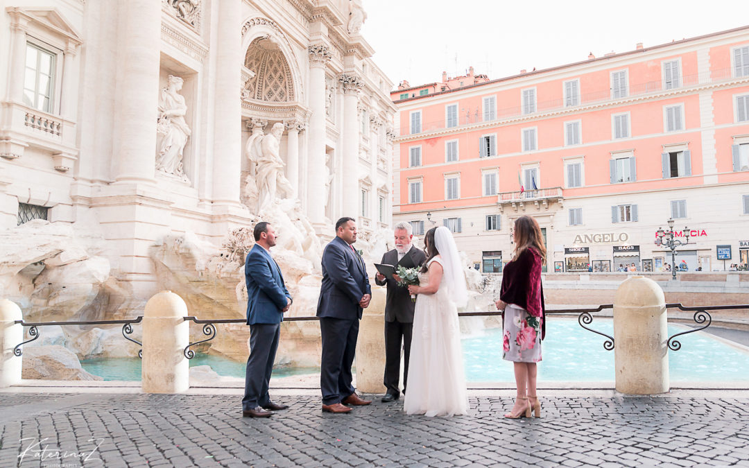 Trevi fountain, Intimate Italy elopement