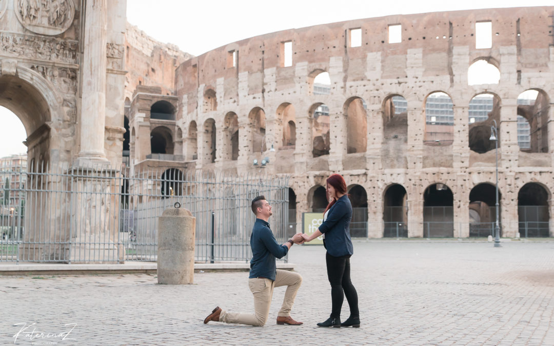 Surprise wedding proposal at the Colosseum